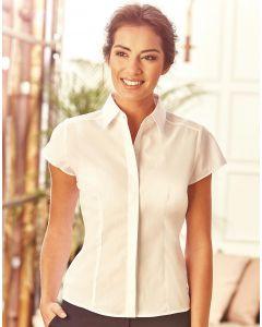Damska koszula z krótkim rękawem Easy Care Fitted Poplin Russell